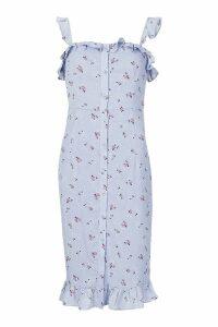 Womens Floral Print Button Through Midi Dress - blue - 12, Blue