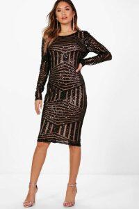 Womens Boutique Sequin and Mesh Midi Dress - black - 16, Black
