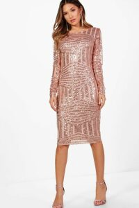Womens Boutique Sequin and Mesh Midi Dress - pink - 16, Pink