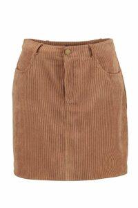 Womens Chunky Cord Step Hem Mini Skirt - brown - 8, Brown