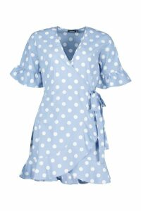 Womens Linen Woven Spot Tie Ruffle Tea Dress - blue - 12, Blue