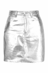 Womens Metallic Denim Mini Skirt - grey - 6, Grey