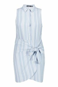 Womens Plus Stripe Tie Waist Sleeveless Shirt Dress - blue - 22, Blue