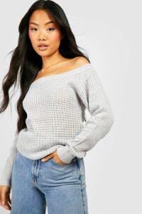 Womens Petite Waffle Knit Off The Shoulder Jumper Dress - grey - L, Grey