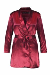 Womens Plus Satin Belted Blazer Dress - red - 20, Red