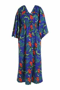 Womens Plus Jaimie Tropical Kimono Sleeve Maxi Dress - blue - 20, Blue