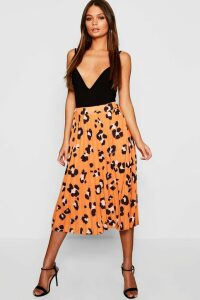 Womens Pleated Leopard Print Midi Skirt - orange - 14, Orange