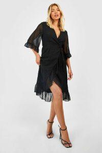 Womens Dobby Chiffon Wide Sleeve Midi Wrap Dress - black - 14, Black
