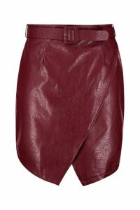 Womens Plus Belted PU Crossover Skirt - Red - 20, Red