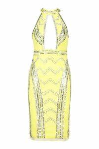 Womens Premium Embellished Racer Front Midi Dress - yellow - 10, Yellow