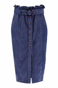 Womens Cord Paperbag Button Midi Skirt - blue - 12, Blue