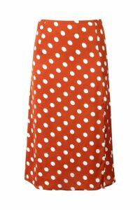 Womens Satin Polka Dot Split Midi Skirt - orange - 12, Orange
