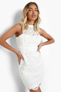 Womens Boutique Lace Racer Neck Bodycon Dress - white - 12, White