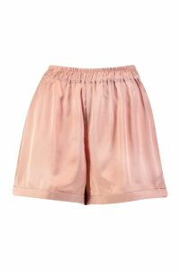 Womens Satin Turn Up Shorts - orange - 14, Orange