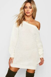 Womens Petite Waffle Knit Off The Shoulder Jumper Dress - white - M, White