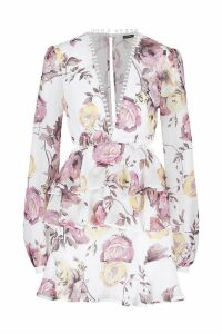 Womens Premium Floral Print Back Detail Mini Dress - white - 12, White
