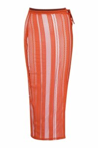 Womens Tall Fishnet Lace Up Side Split Maxi Skirt - orange - 14, Orange