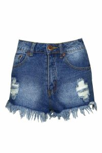 Womens Stone Wash High Waist Ripped Denim Shorts - blue - 10, Blue