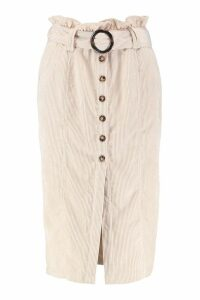 Womens Cord Paperbag Button Midi Skirt - cream - 14, Cream