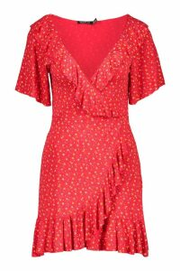 Womens Ditsy Floral Wrap Ruffle Tea Dress - red - 16, Red
