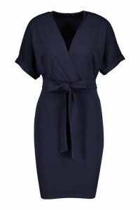 Womens Wrap Over Belted Dress - navy - 10, Navy