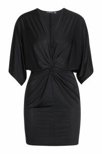 Womens Petite Disco Slinky Twist Front Mini Dress - black - 14, Black