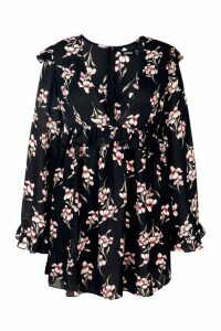 Womens Plus Plunge Ruffle Floral Skater Dress - black - 16, Black