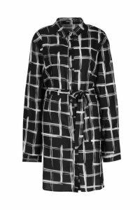 Womens Tall Grid Check Belted Shirt Dress - black - 16, Black