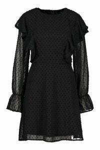 Womens Tall Dobby Mesh Ruffle Smock Dress - black - 16, Black
