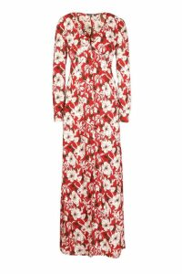 Womens Tall Floral Print Maxi Dress - red - 16, Red