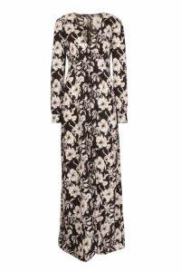 Womens Tall Floral Print Maxi Dress - black - 14, Black