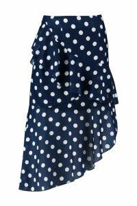 Womens Polka Dot Check Asymmetric Frill Midi Skirt - navy - 16, Navy