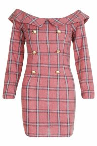 Womens Check Bardot Button Shift Dress - Pink - 14, Pink
