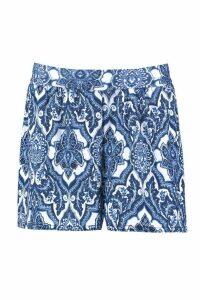 Womens Baroque Print Flippy Shorts - blue - 12, Blue