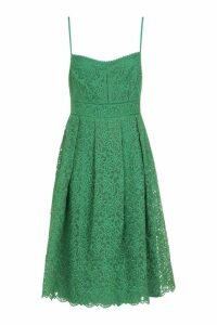 Womens Boutique Embroidered Strappy Midi Skater Dress - green - 10, Green
