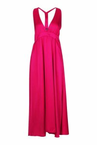 Womens Satin Plunge Halter Neck Maxi Dress - Pink - 8, Pink