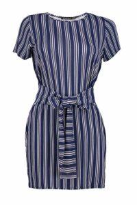 Womens Petite Stripe Tie Waist Shift Dress - multi - 14, Multi
