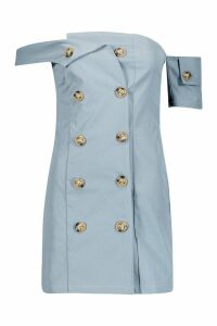 Womens Utility Off The Shoulder Mini Dress - blue - 14, Blue
