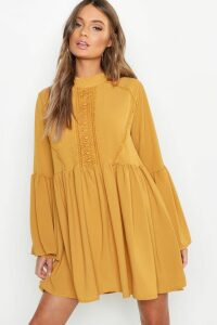 Womens Boho Crochet Detail Wide Sleeve Smock Dress - yellow - 16, Yellow