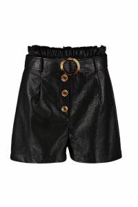 Womens Leather Look Paper Bag Belted Pocket Shorts - black - 16, Black