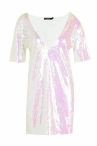 Womens Plunge Front All Over Sequin Shift Dress - white - 14, White