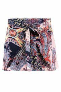Womens Boho Paisley Scarf Print Runner Shorts - blue - 14, Blue