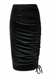 Womens Poppy Rouched Velvet Asymetric Midi Skirt - black - 12, Black