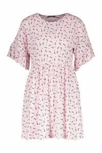 Womens Ditsy Floral Smock Dress - Pink - 10, Pink