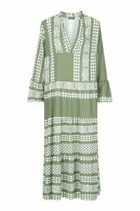 Womens Aztec Smock Maxi Dress - green - M, Green