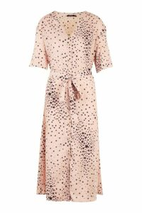 Womens Plus Star Print Button Detail Midi Dress - pink - 16, Pink