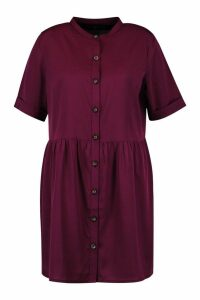 Womens Plus Button Front Smock Dress - red - 20, Red