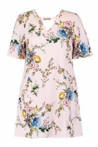 Womens Plus Floral Choker Detail Shift Dress - pink - 18, Pink