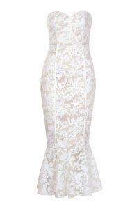 Womens Premium Lace Fishtail Midi Dress - white - 6, White