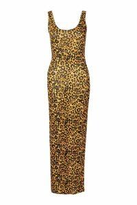 Womens Leopard Maxi Dress - multi - 14, Multi